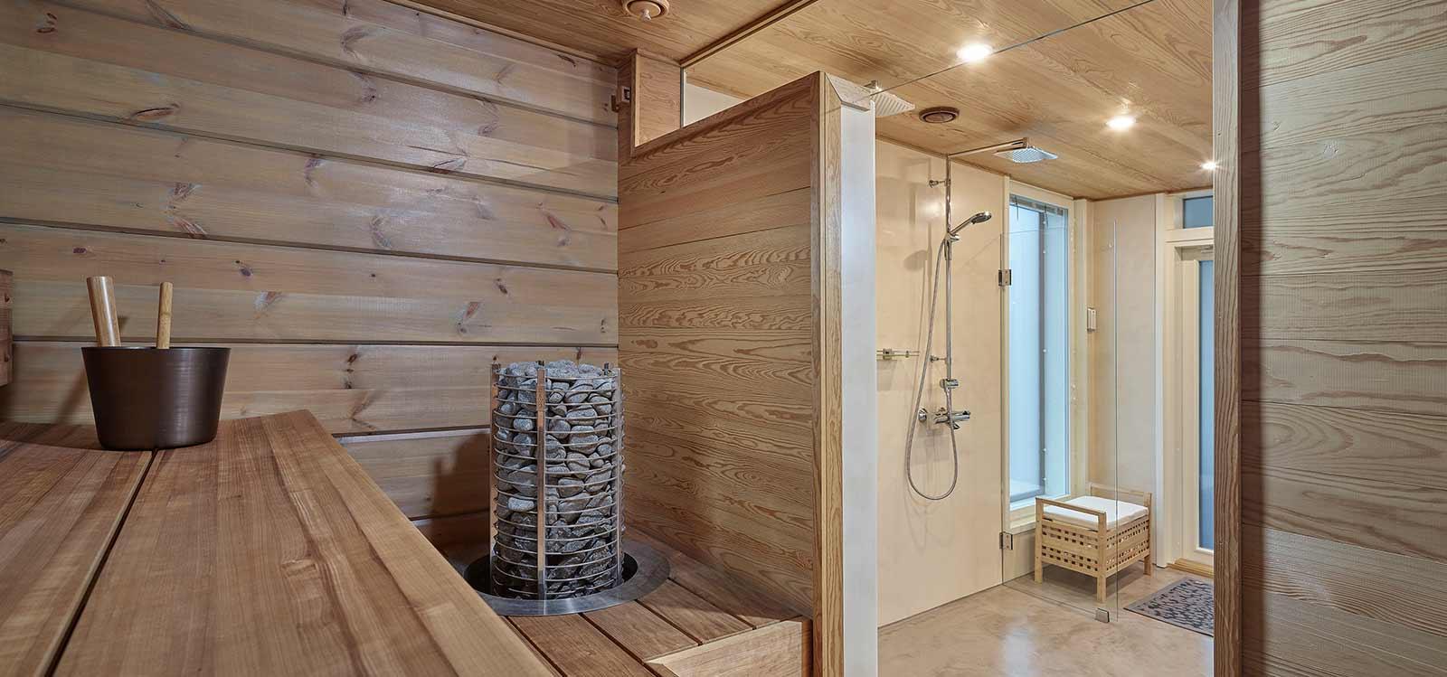 hirsi rakennusmateriaalina sauna